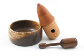 Zack Adams - Bowl, Mini Birdhouse and Baby Rattle of Walnut, Oak and Cherry