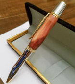 Name: Silken Cedar. Made from a piece of Virginian Cedar, this ballpoint pen displays a simply chic and contoured form with fantastic color variation coming from the grain and the knot in this piece of wood.